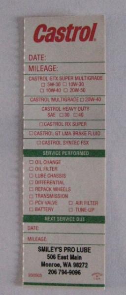 Serviceaufkleber Castrol, Full Service I