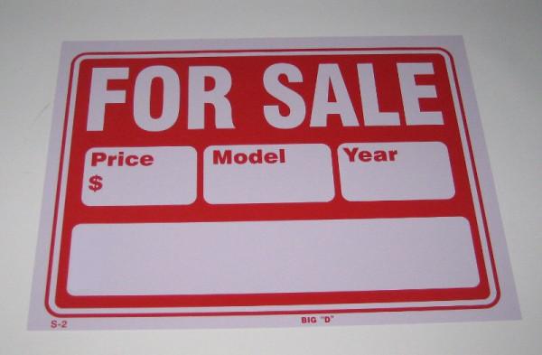 """""""For Sale"""" Autoverkaufs-Schild, klein"""
