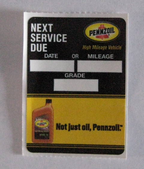 """Serviceaufkleber """"Not just oil, Pennzoil"""""""