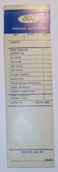 Serviceaufkleber Ford, Premium Motor Oil