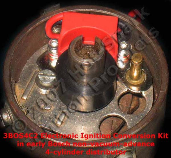Elektronische Zündung für Bosch 4 Zylinder Verteiler mit 2-teiligem rechts angesch. Kontakt