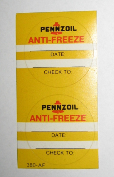 Serviceaufkleber Pennzoil Anti-Freeze