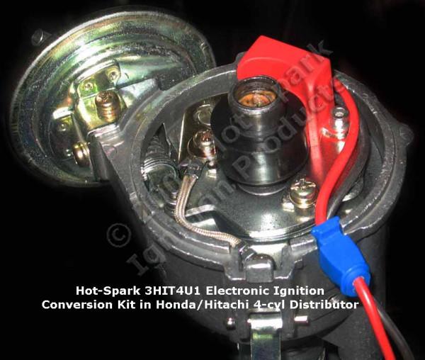 Elektronische Zündung für Hitachi 4 Zylinder Verteiler mit rechts angesch. Kontakt