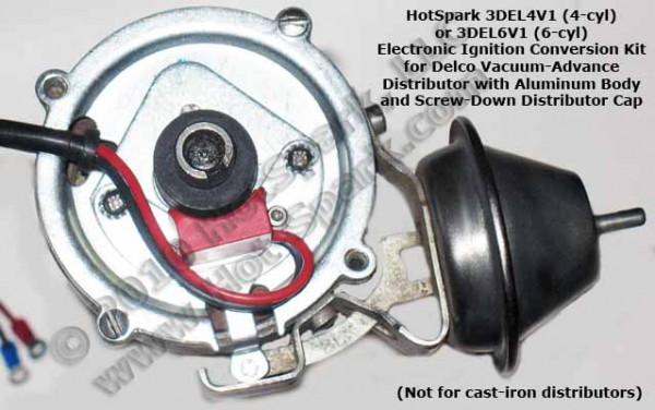 Elektronische Zündung für Delco 6-Zylinder Verteiler (Vakuum-Verstellung)